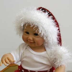 Hand Knit Baby Santa Hat